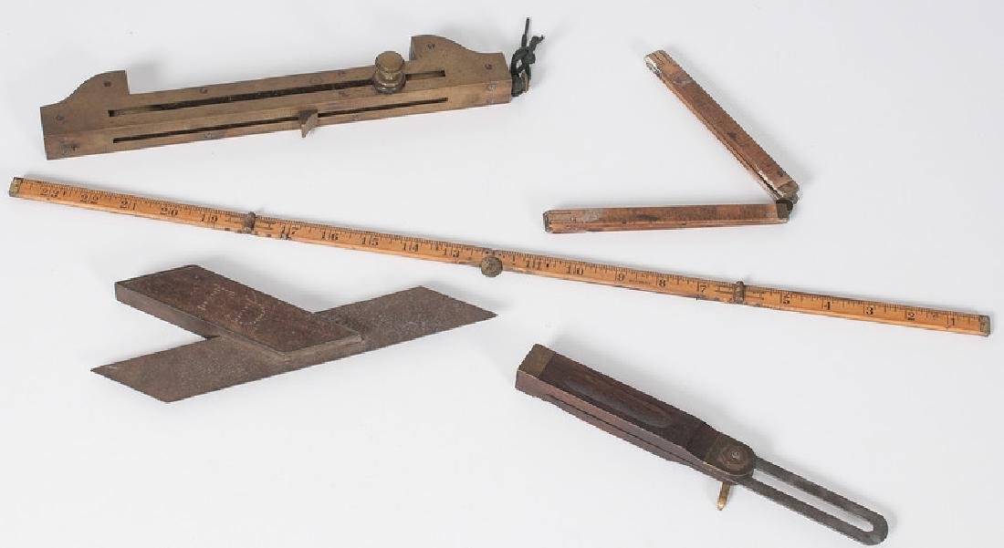 Wooden and Brass Tools, Including Rules and Squares