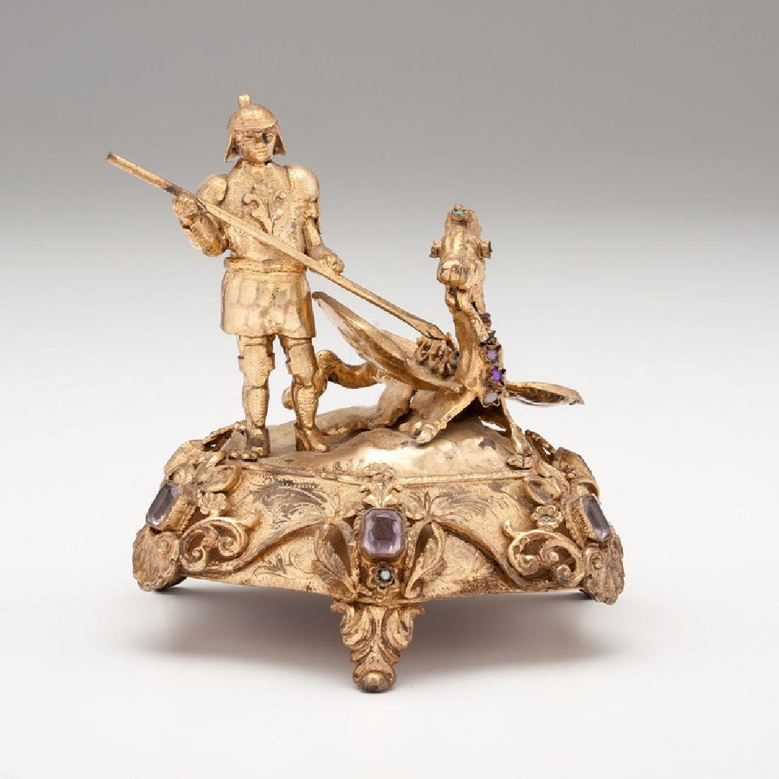 Saint George and the Dragon Gilt-Metal Figure with