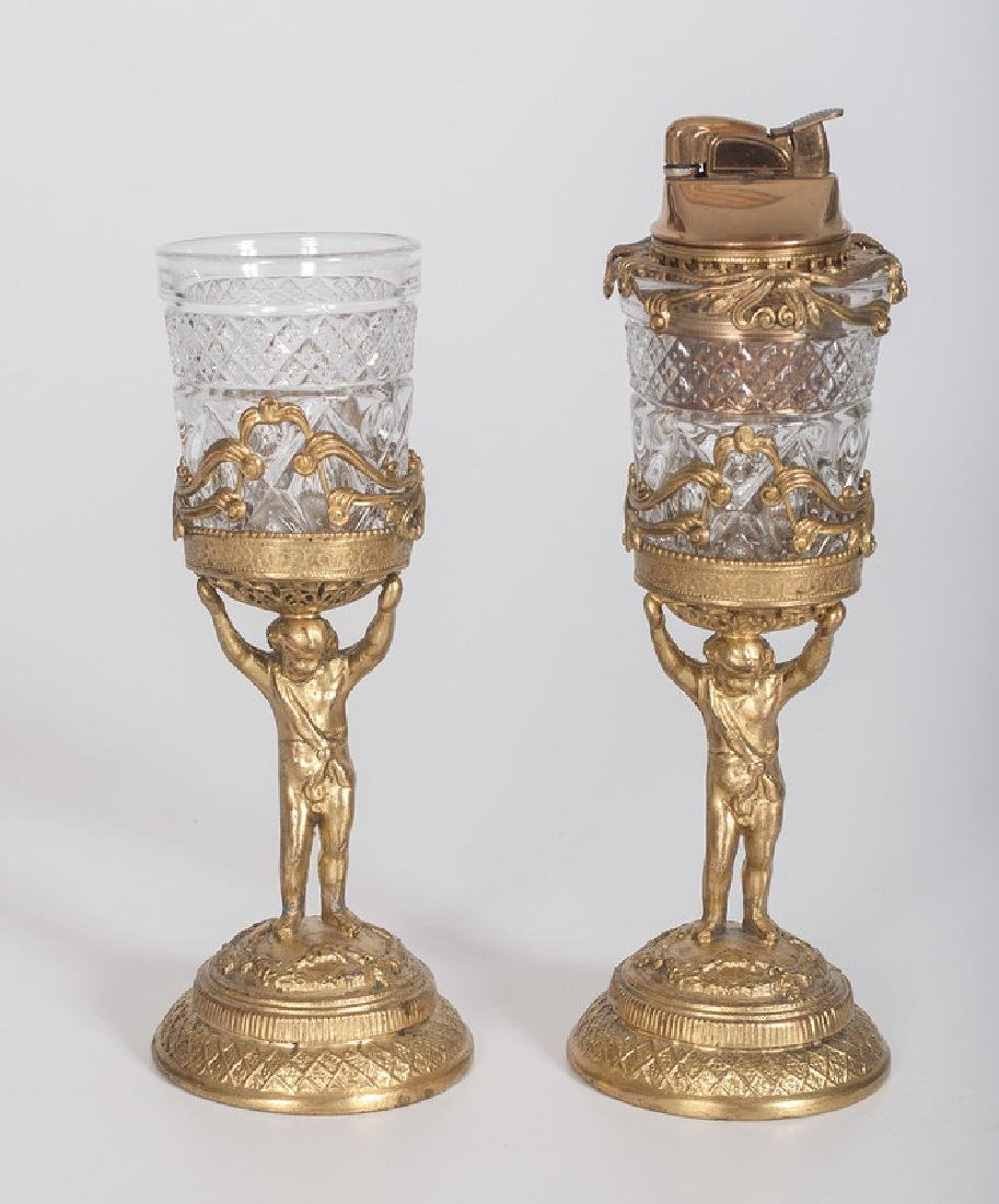 Gilt Metal Figural Glass Stands
