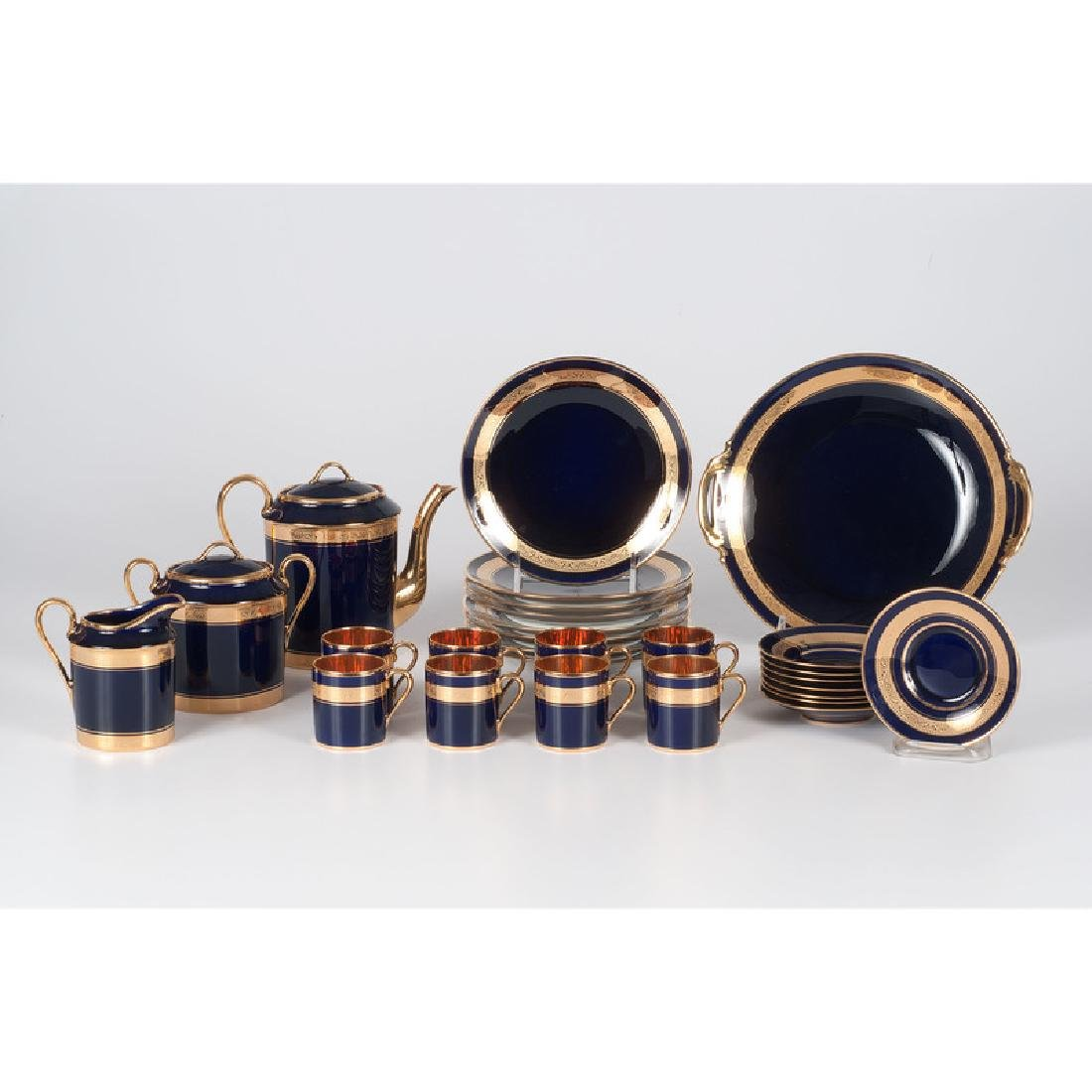 Limoges Gilt and Cobalt Coffee Service
