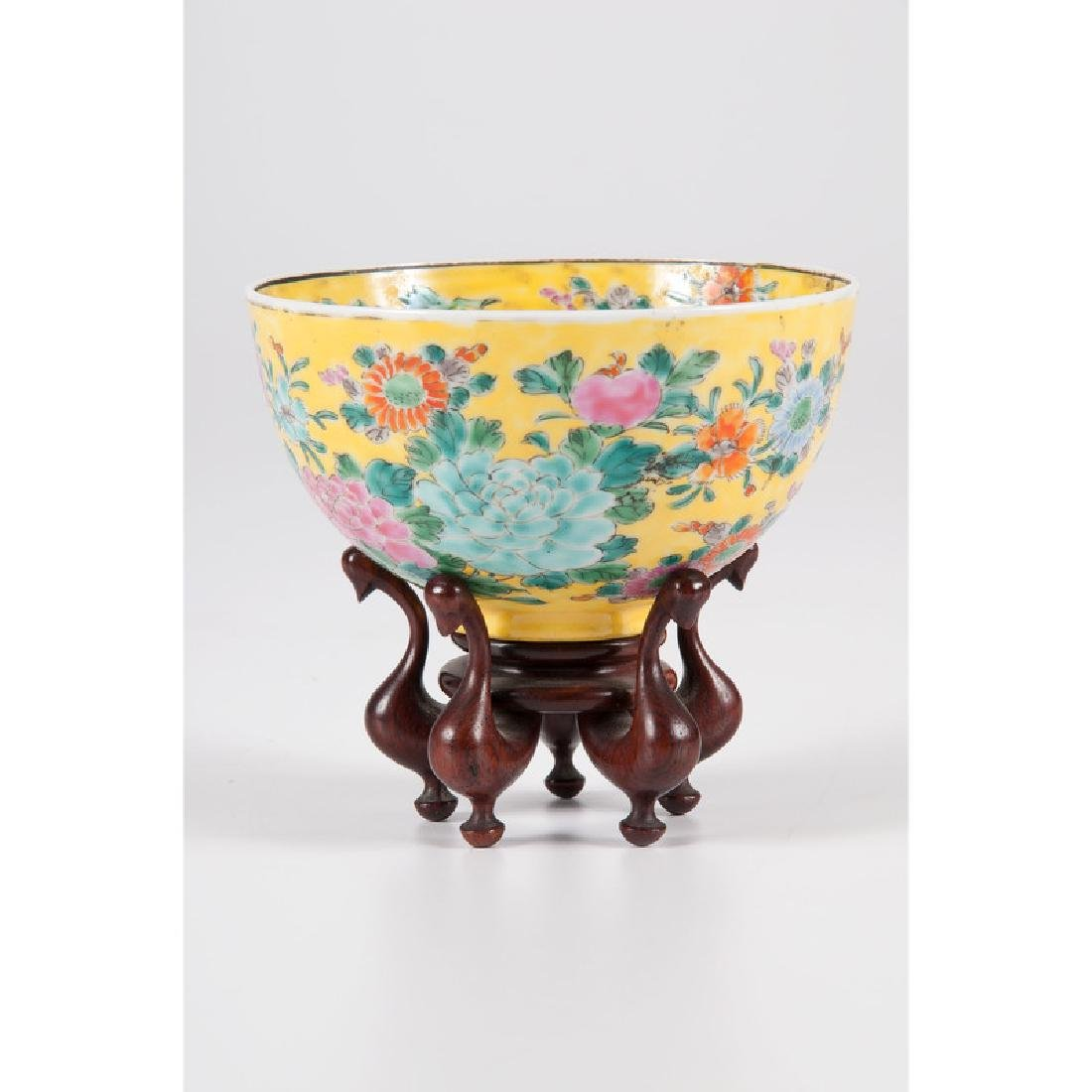 Chinese Famille Jaune Bowl with Peonies