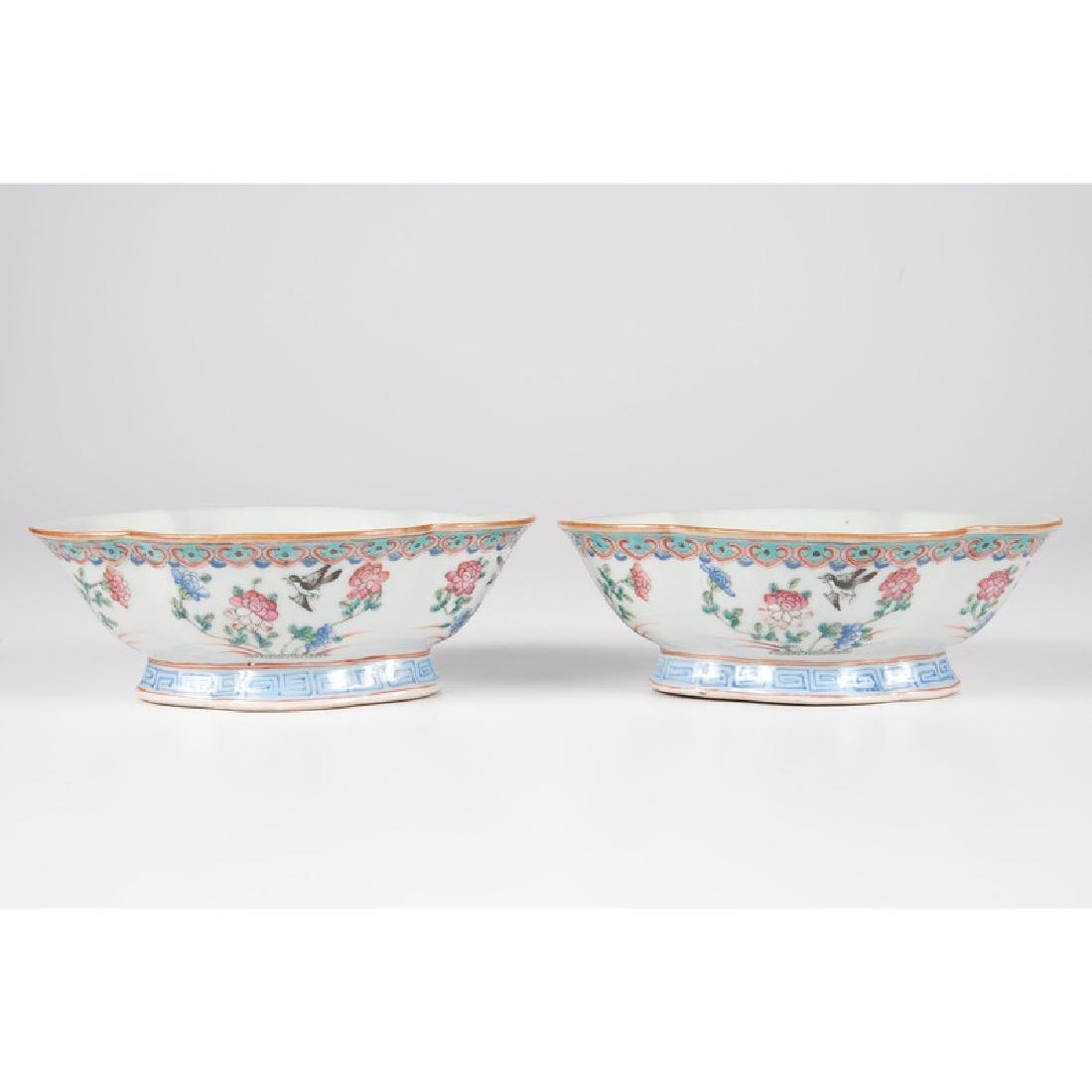 Chinese Porcelain Quatrefoil Bowls