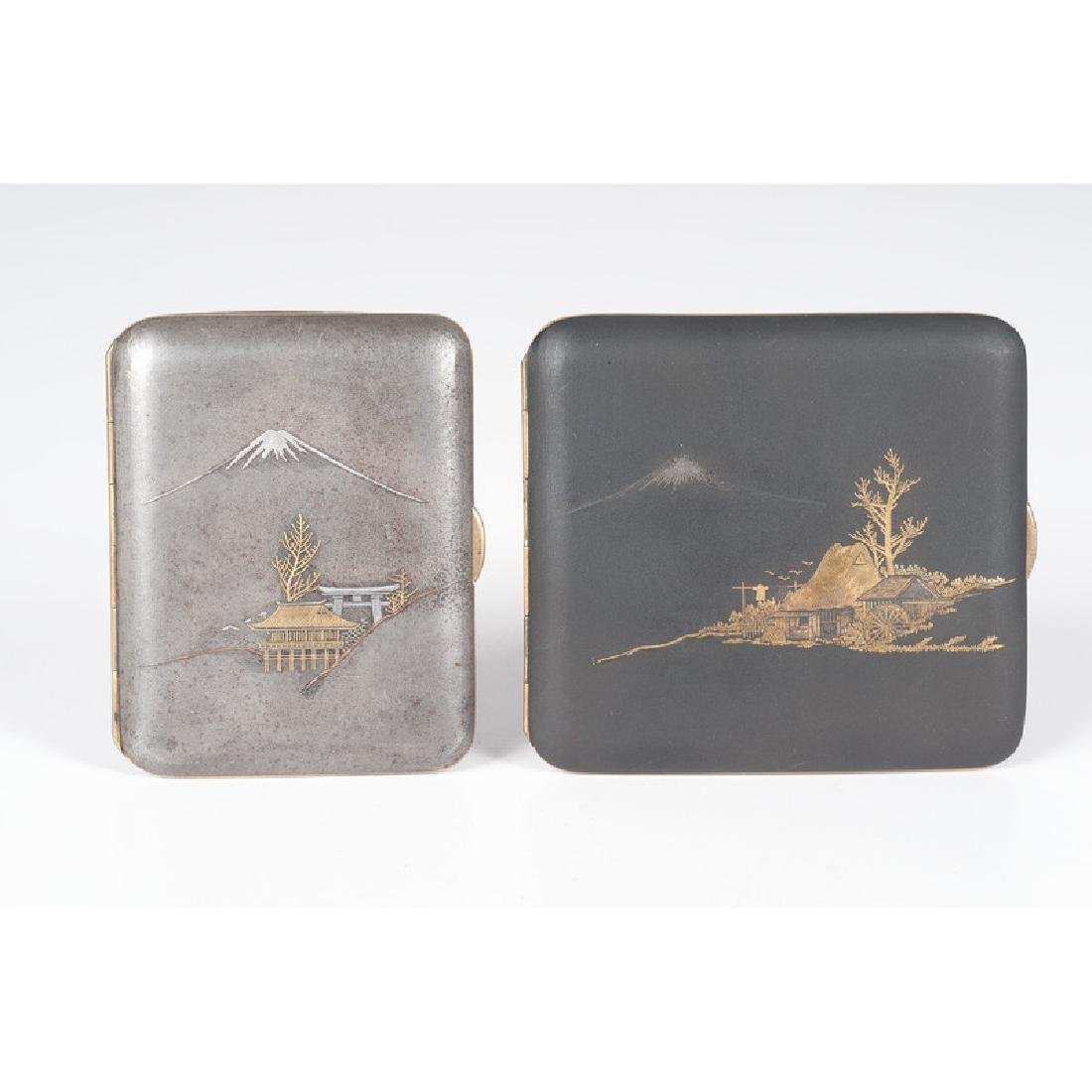 Japanese Calling Card Cases with Silver and Gold Inlay