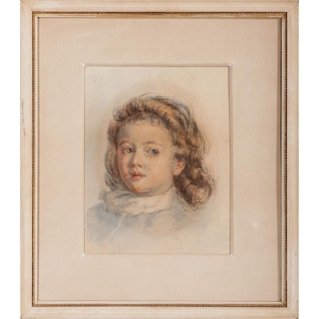 Framed Watercolor of a Young Girl, Attributed to