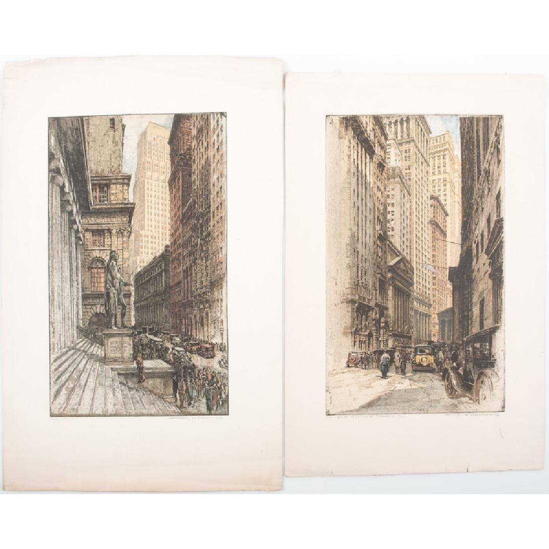 Color Aquatints of New York City Buildings, Signed