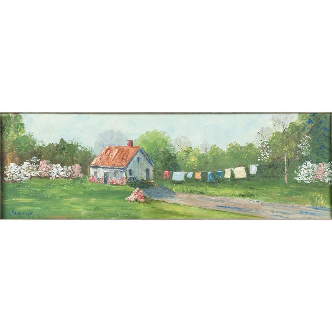 Rustic Painting of a Cabin, Signed R. Shopmyer