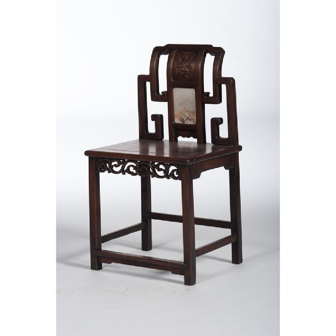 Chinese Side Chair with Marble Panel