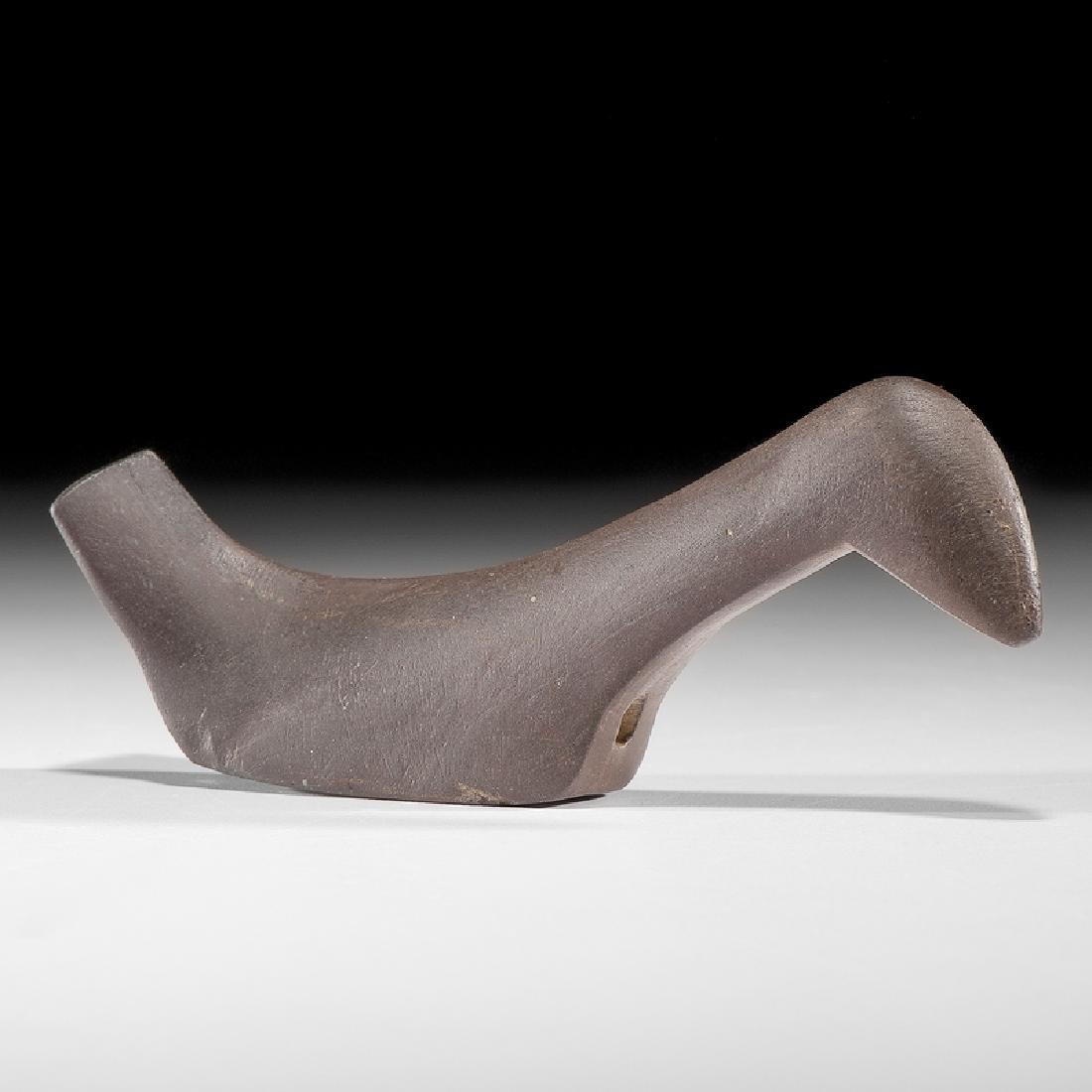 A Ferruginous Slate, Elongated Long Neck Birdstone,