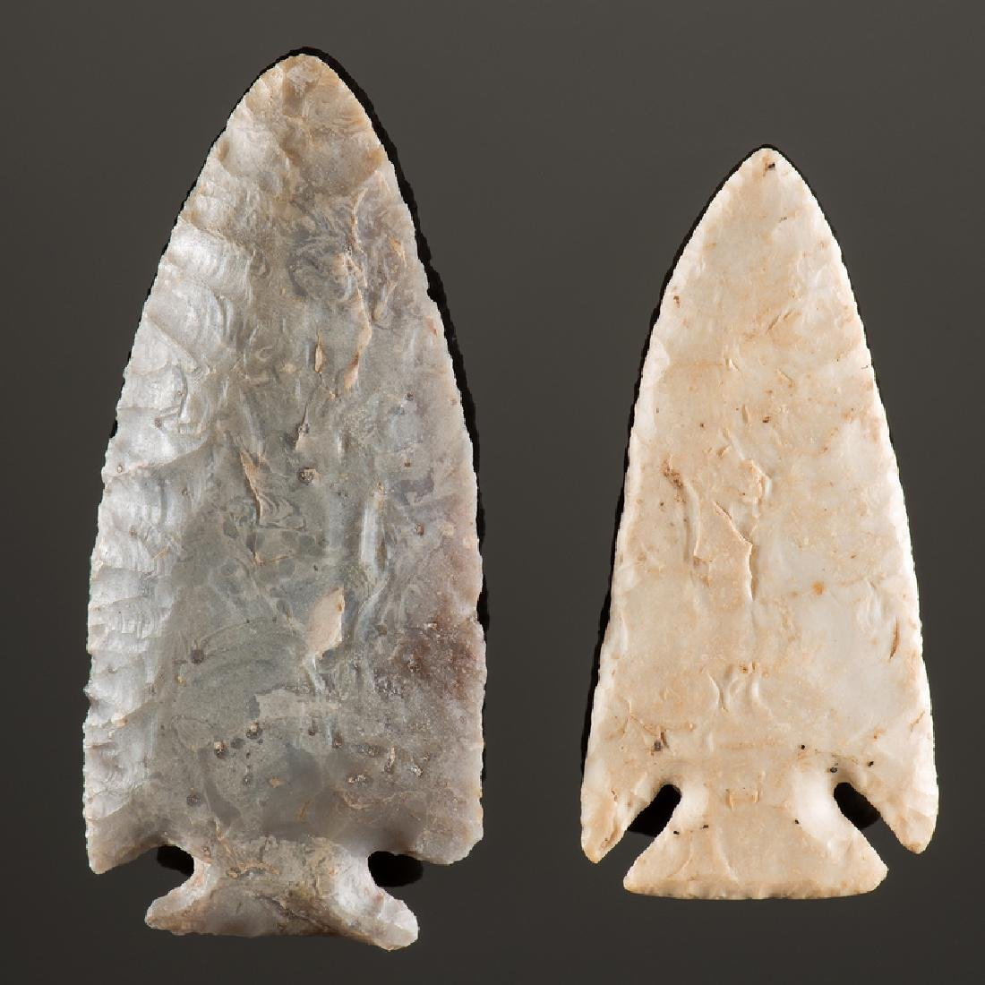 A Kaolin AND Flint Ridge Corner Notch Points, From the