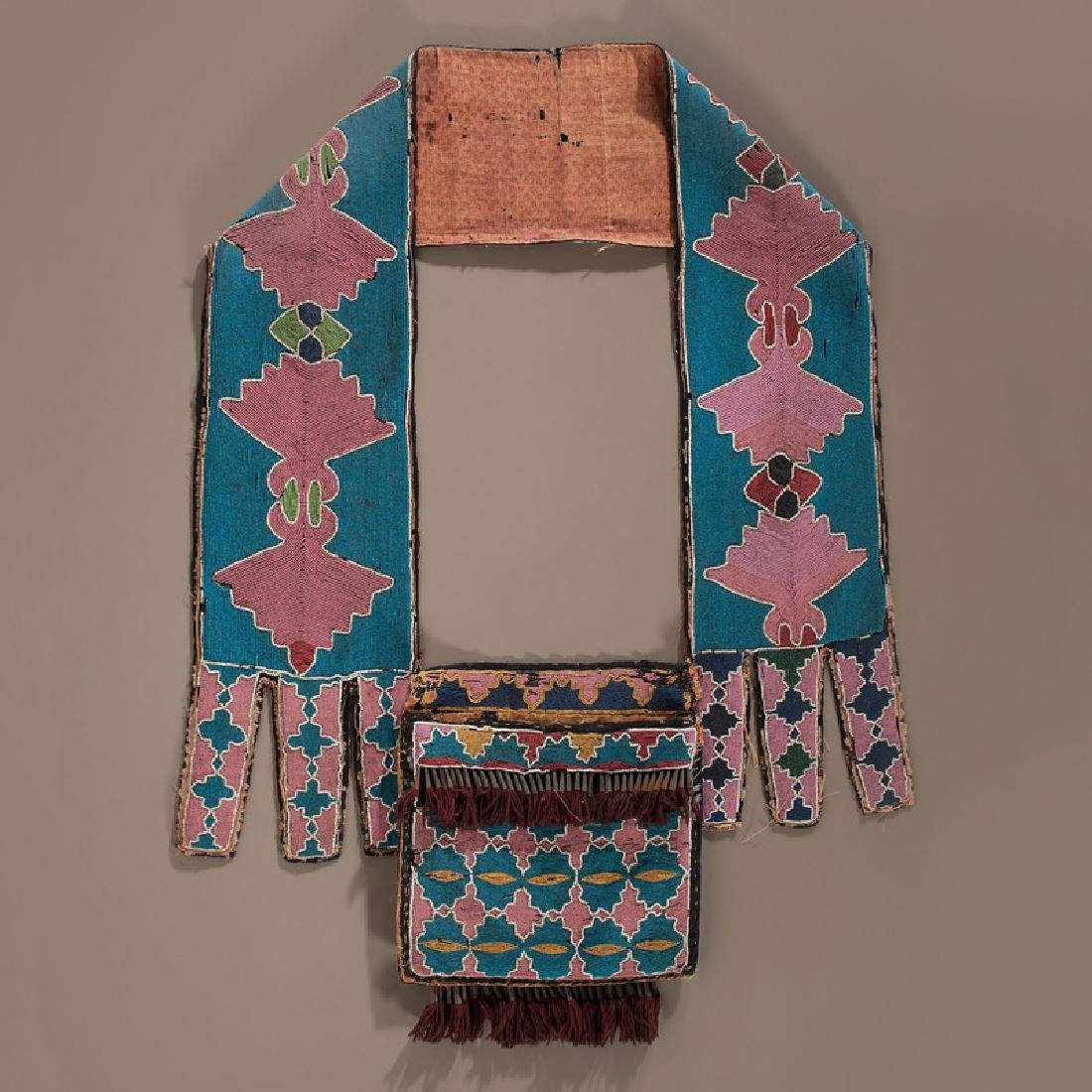 Early Lenape (Delaware) Beaded Bandolier Bag