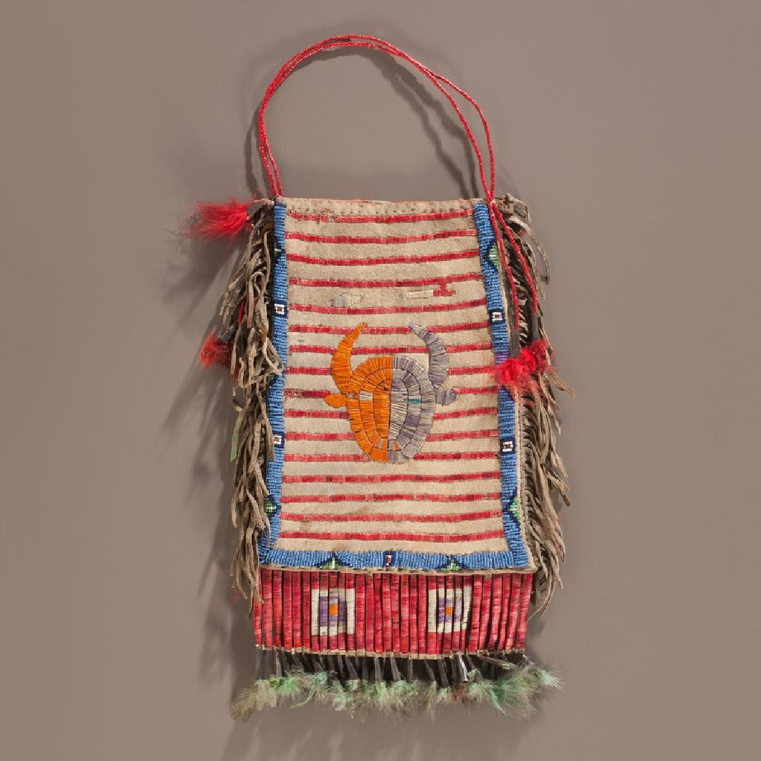 Sioux Beaded and Quilled Hide Buffalo Society Bag, From