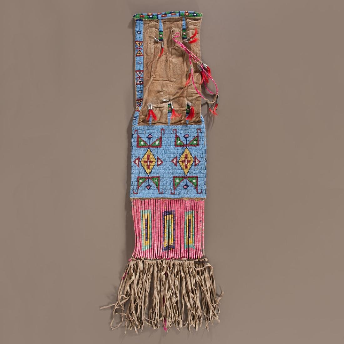 Sioux Beaded and Quilled Hide Tobacco Bag, Collected by
