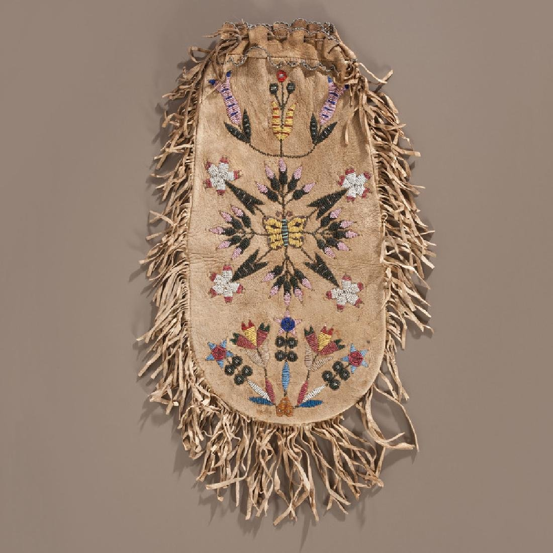Santee Sioux Beaded Hide Pouch, Collected by Gustav
