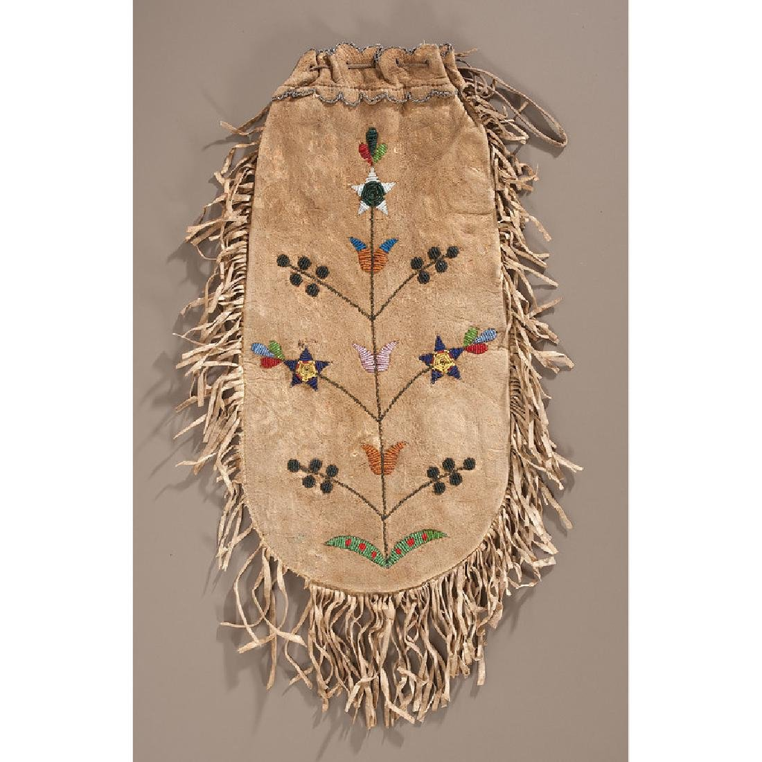 Santee Sioux Beaded Hide Pouch, Collected by Gustav - 2