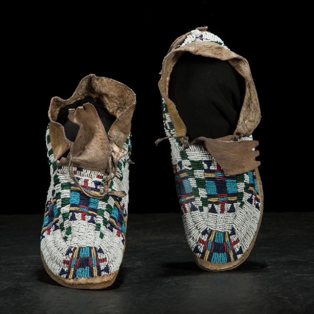 Cheyenne Child's Beaded Hide Moccasins