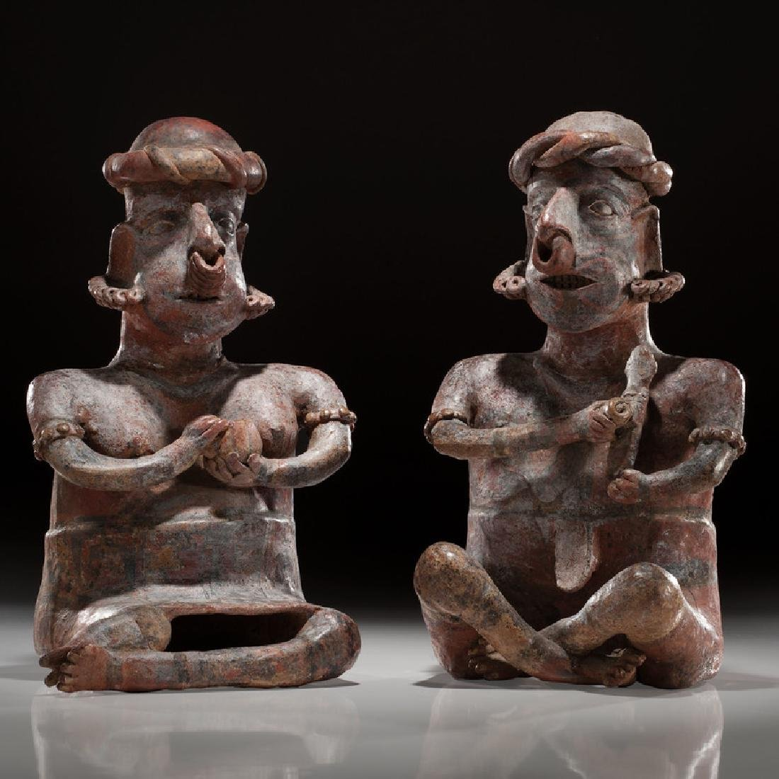 Protoclassic Jalisco Seated Male and Female Pottery