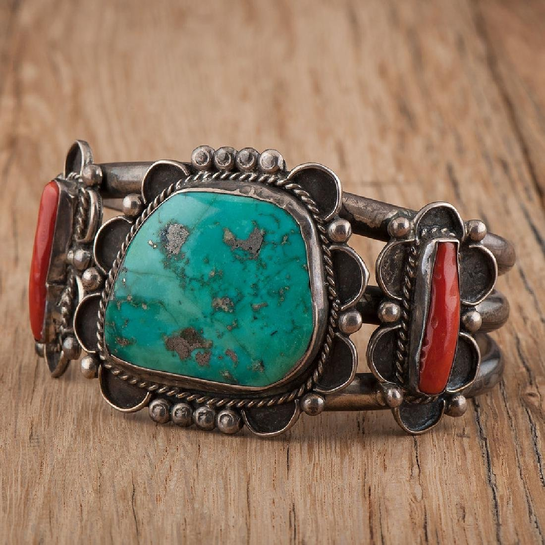 Large Navajo Silver, Turquoise, and Coral Cuff Bracelet