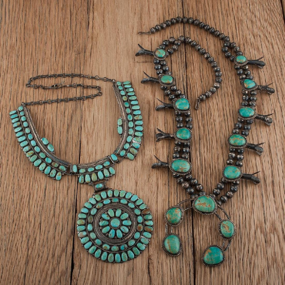 Navajo Silver and Turquoise Squash Blossom AND