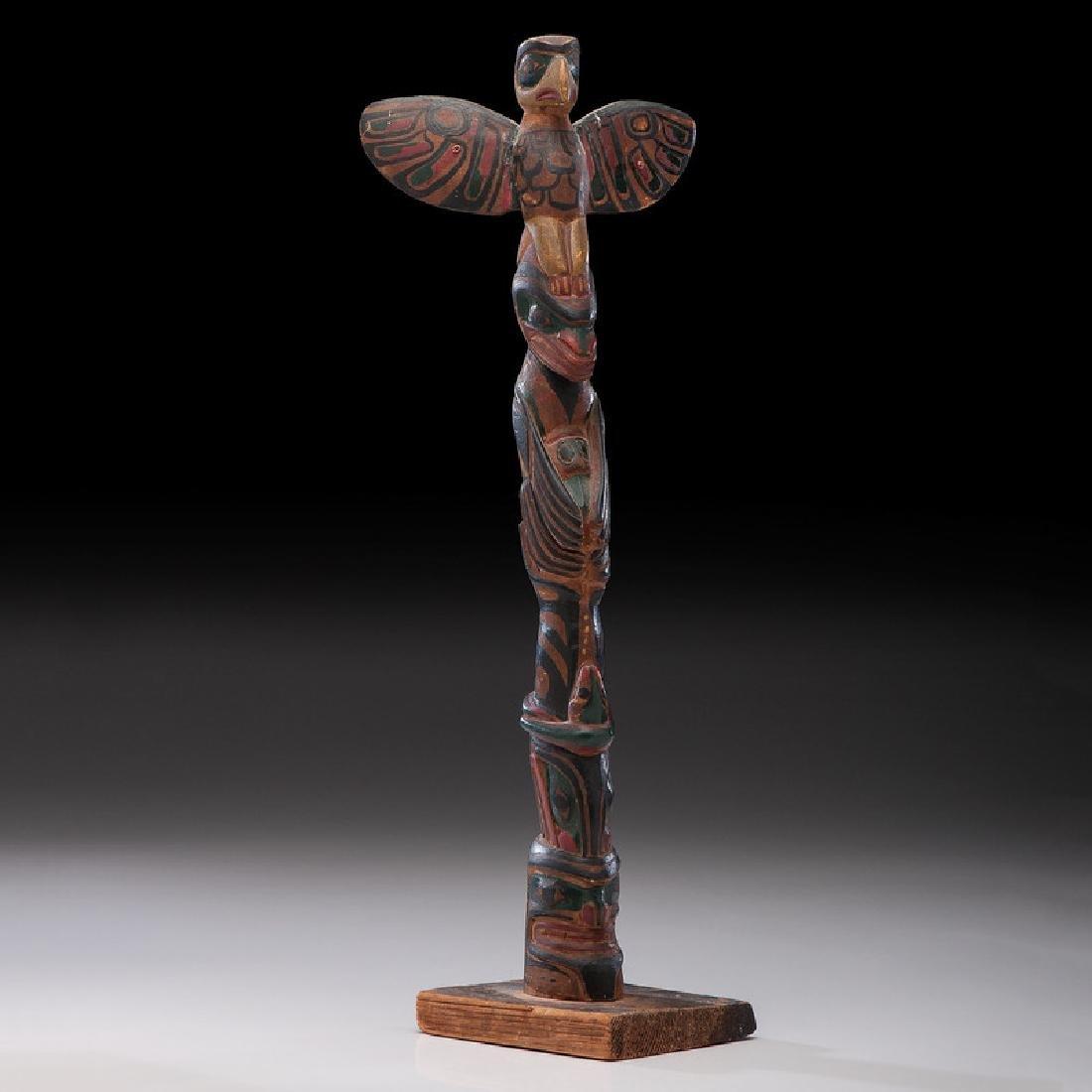 Northwest Coast Carved Wood Model Totem Pole