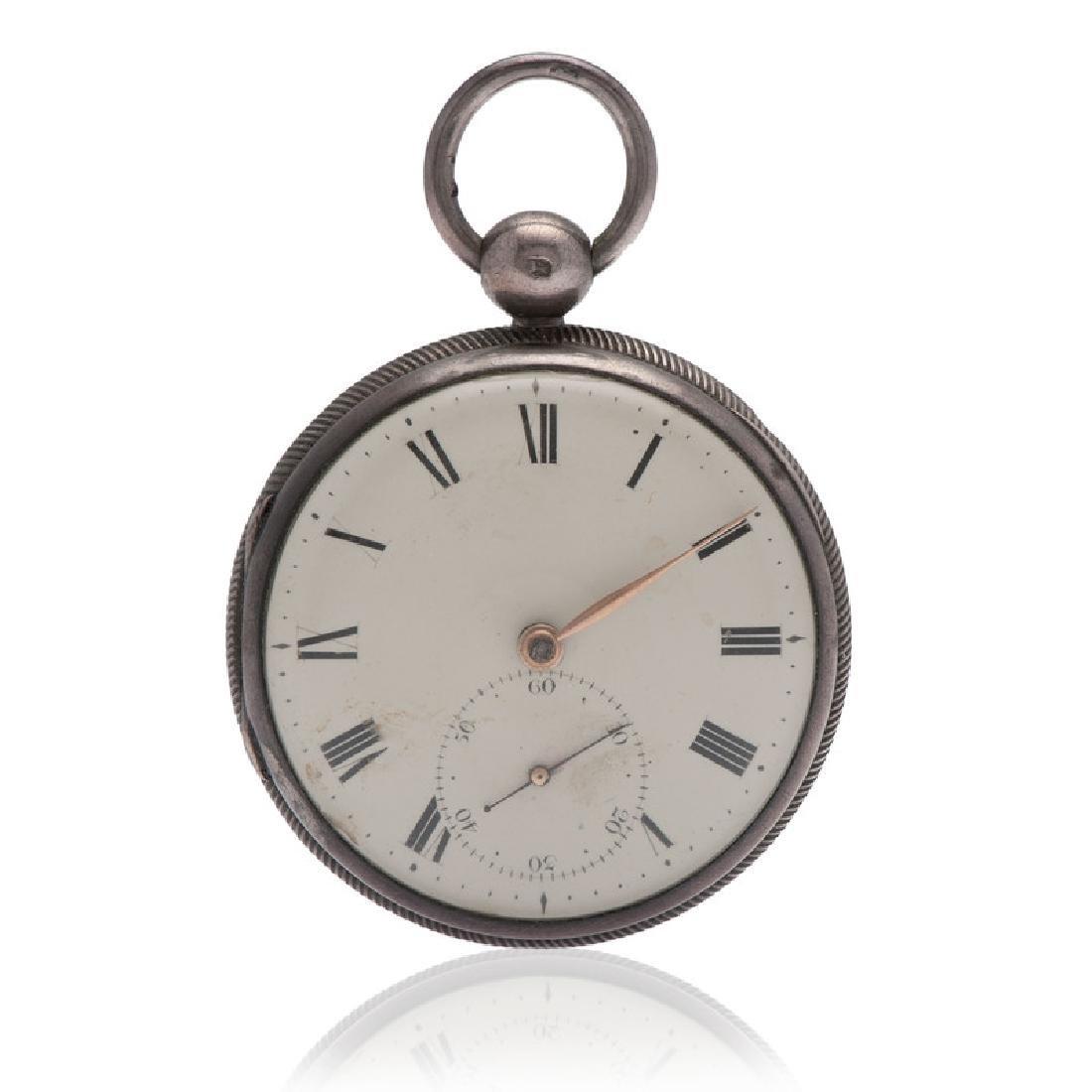 John Robinson Sterling Silver Open Face Pocket Watch