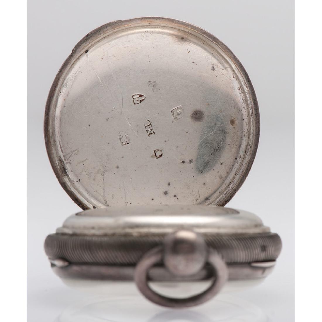 John Robinson Sterling Silver Open Face Pocket Watch - 3