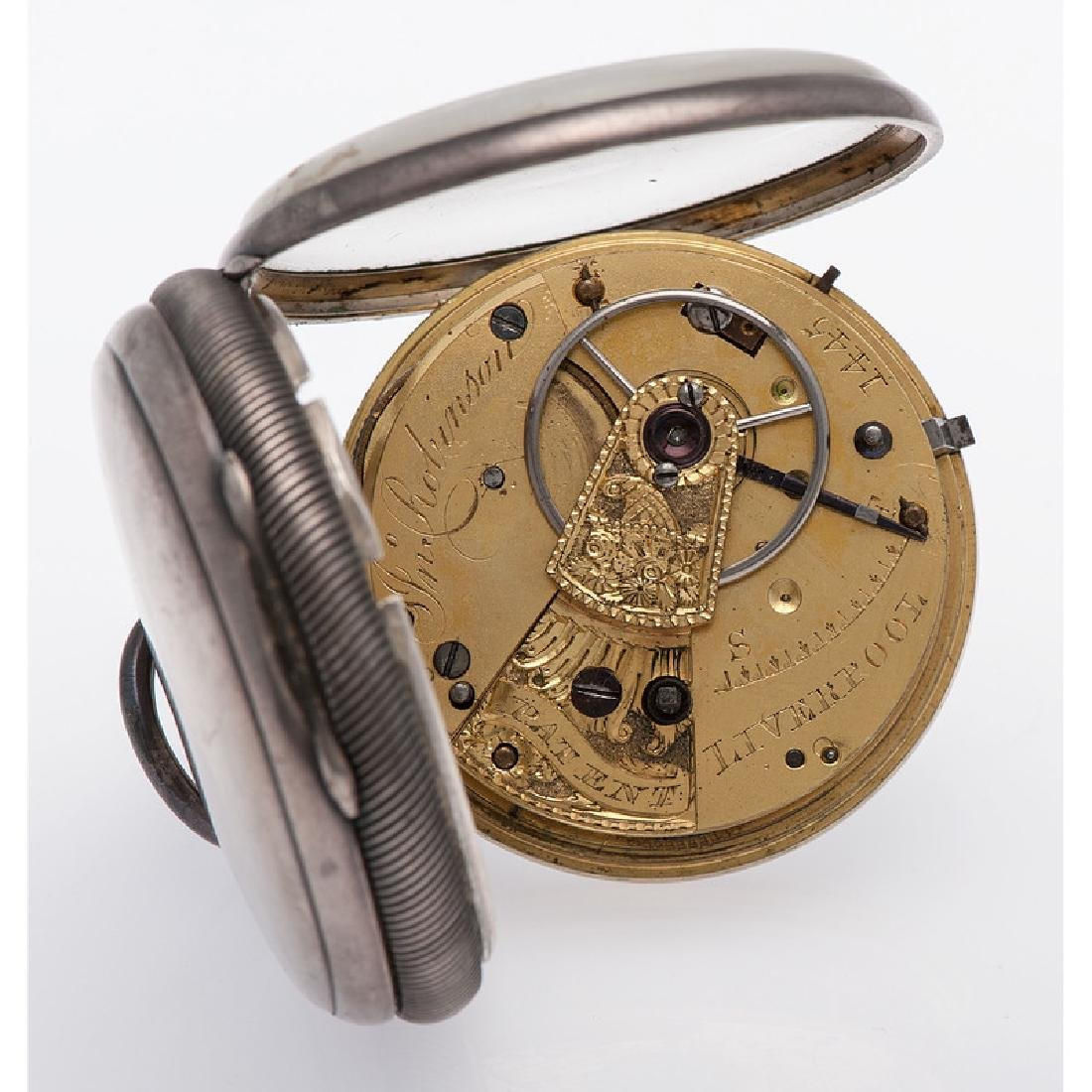 John Robinson Sterling Silver Open Face Pocket Watch - 4