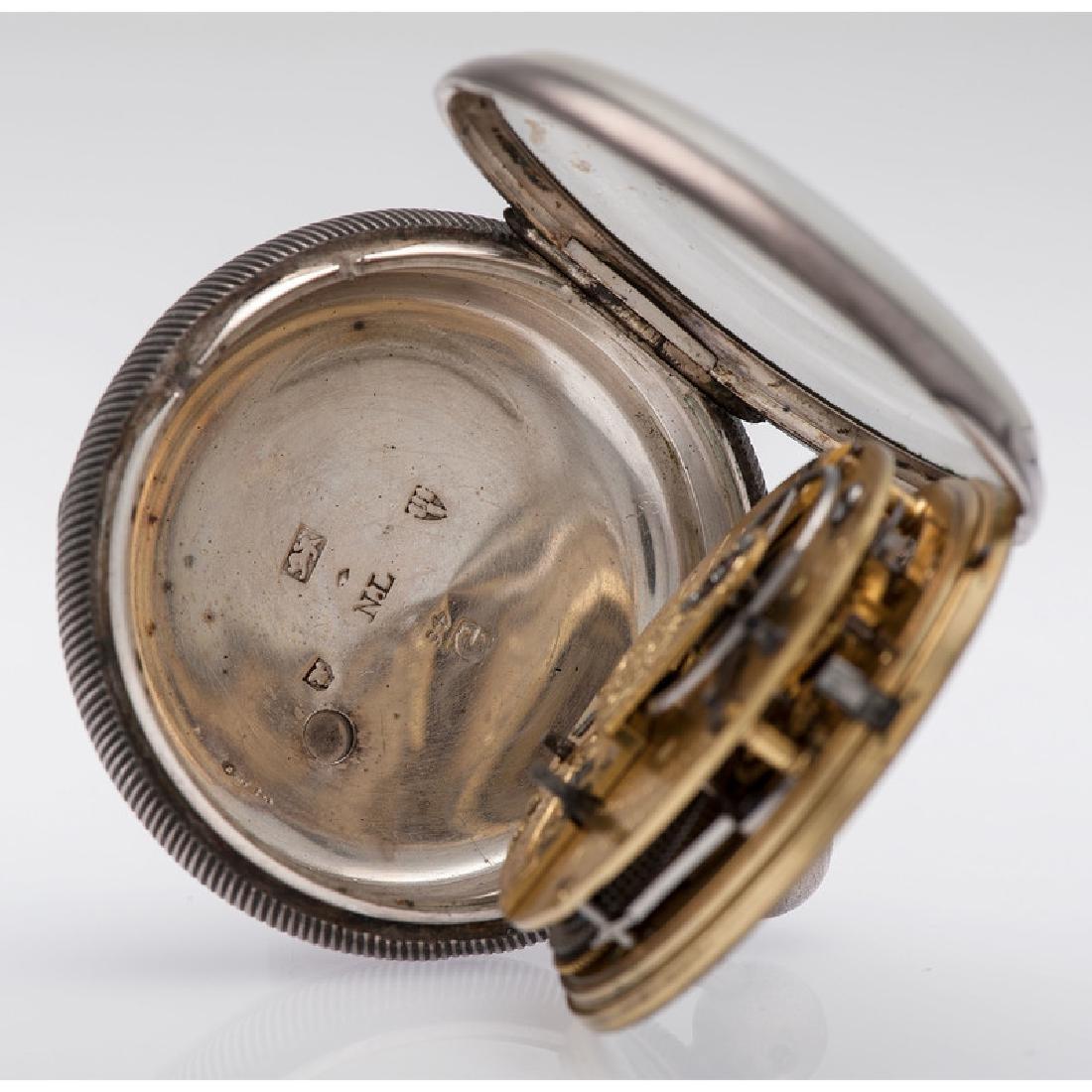 John Robinson Sterling Silver Open Face Pocket Watch - 5