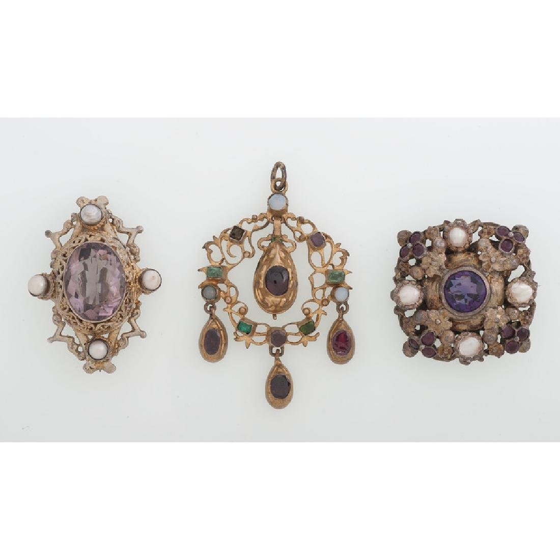 Austro Hungarian Gilt Brooches and Pendant - 2