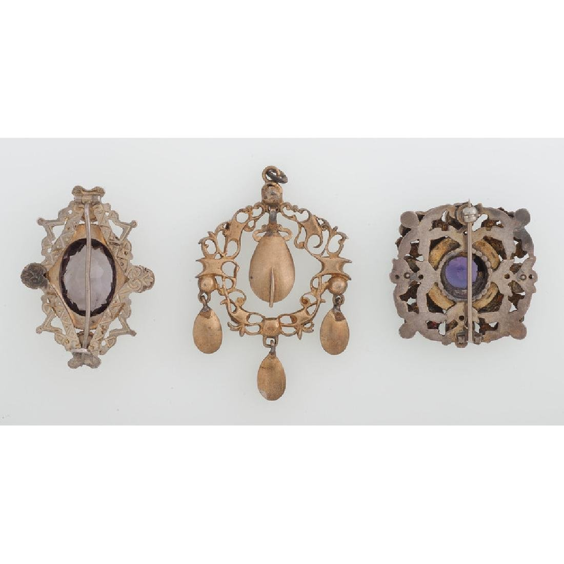 Austro Hungarian Gilt Brooches and Pendant - 3