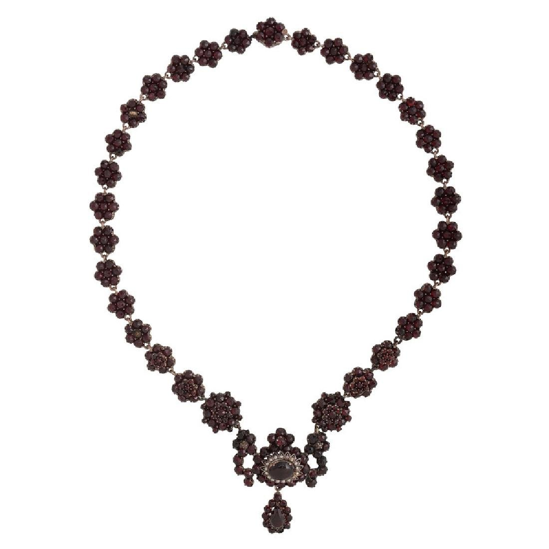 Gilt Metal Bohemian Garnet Necklace