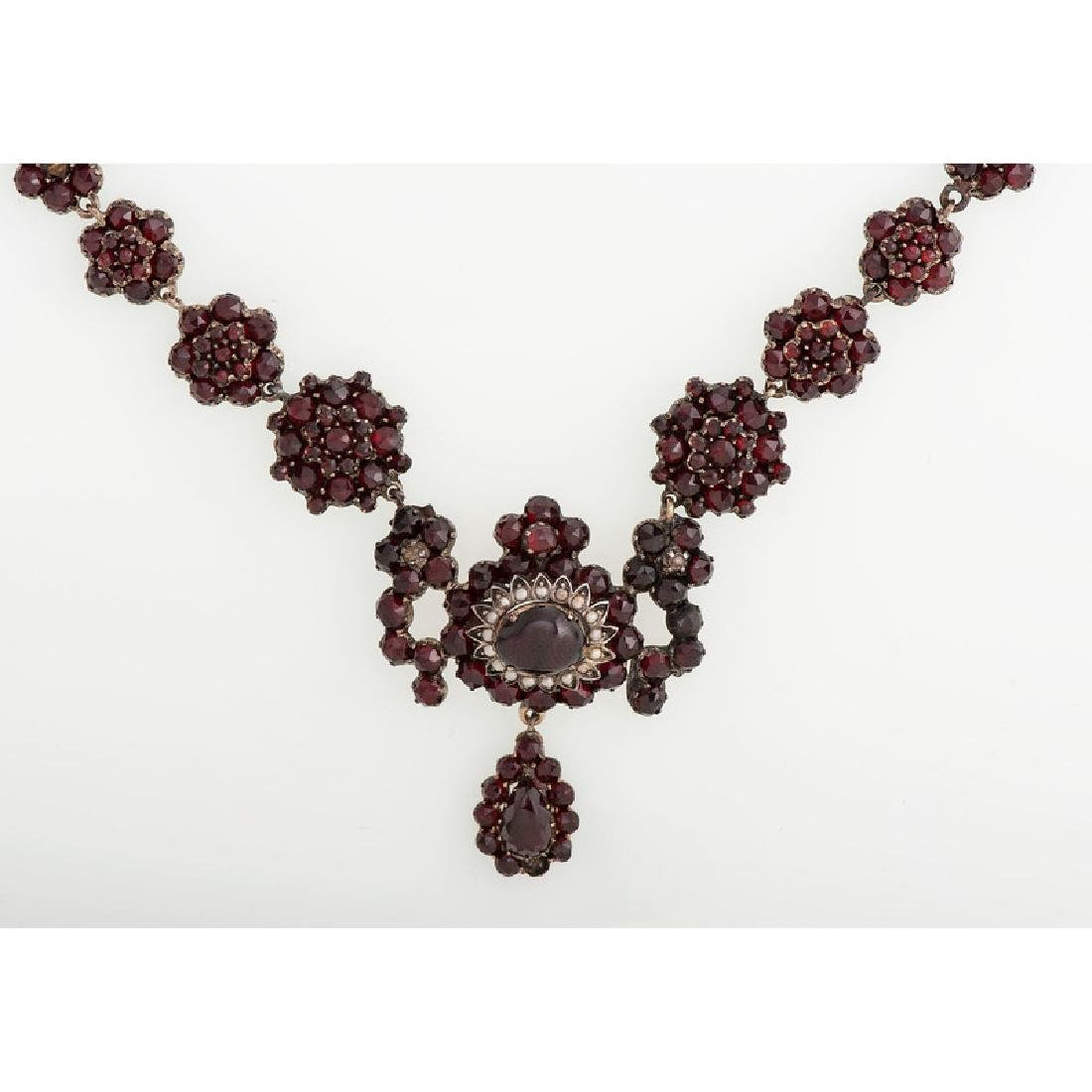 Gilt Metal Bohemian Garnet Necklace - 2