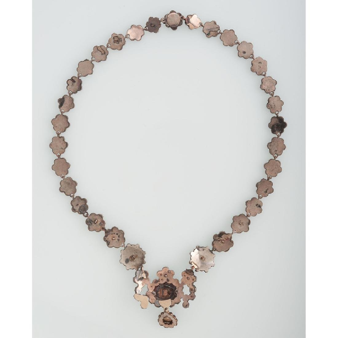 Gilt Metal Bohemian Garnet Necklace - 3