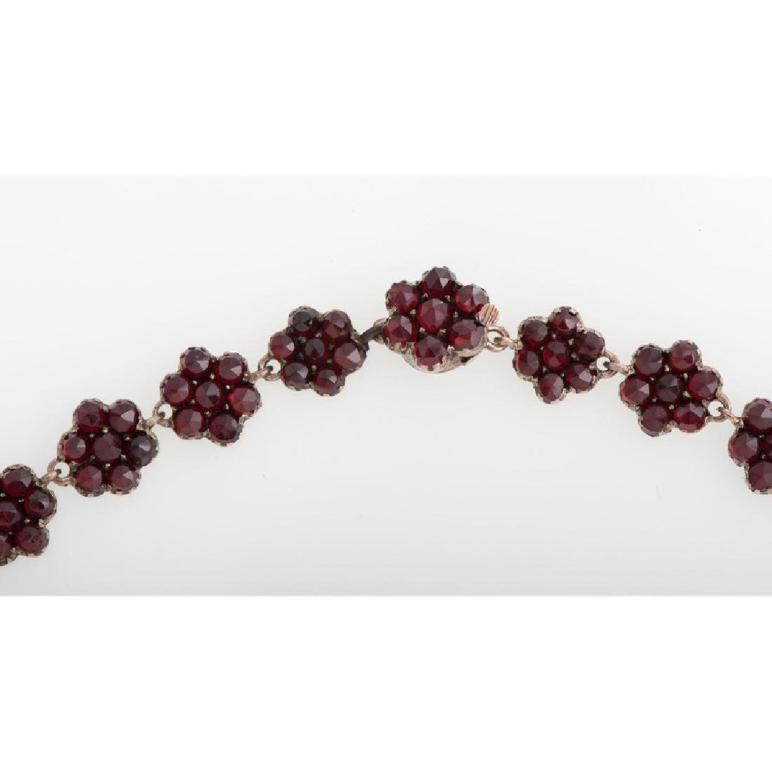 Gilt Metal Bohemian Garnet Necklace - 4