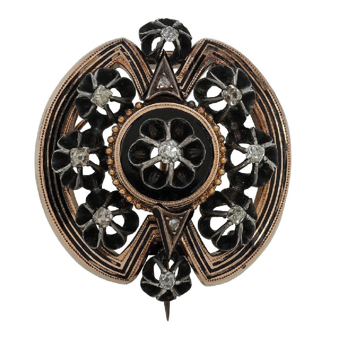 14 Karat Yellow Gold and Silver Victorian Diamond