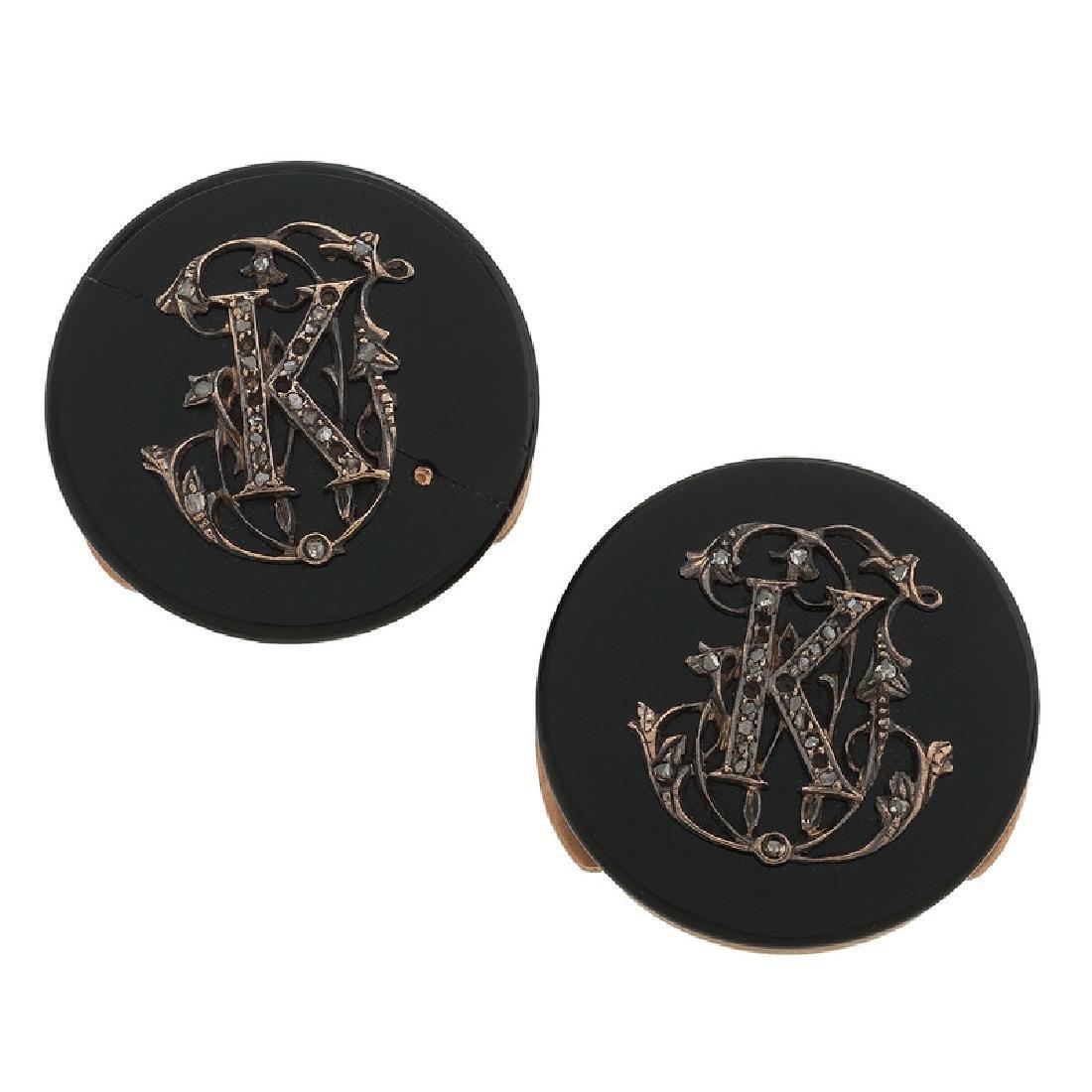 18 Karat Gold Victorian Button Covers