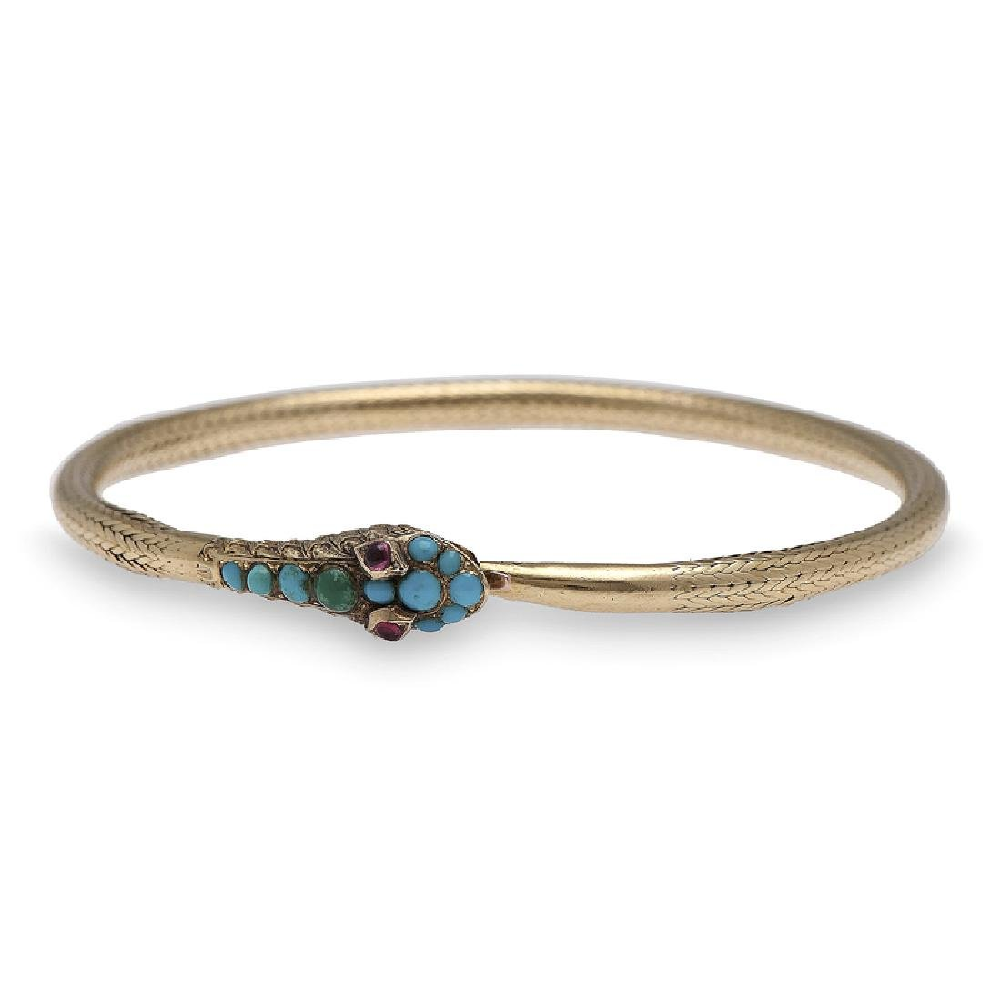 18 Karat Yellow Gold Victorian Serpent Snake Bracelet