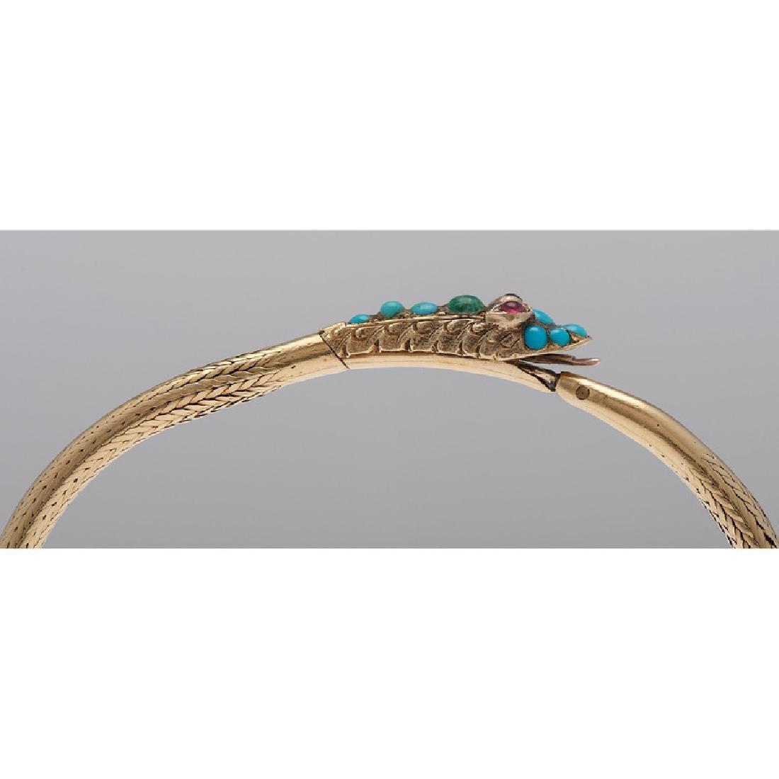 18 Karat Yellow Gold Victorian Serpent Snake Bracelet - 2