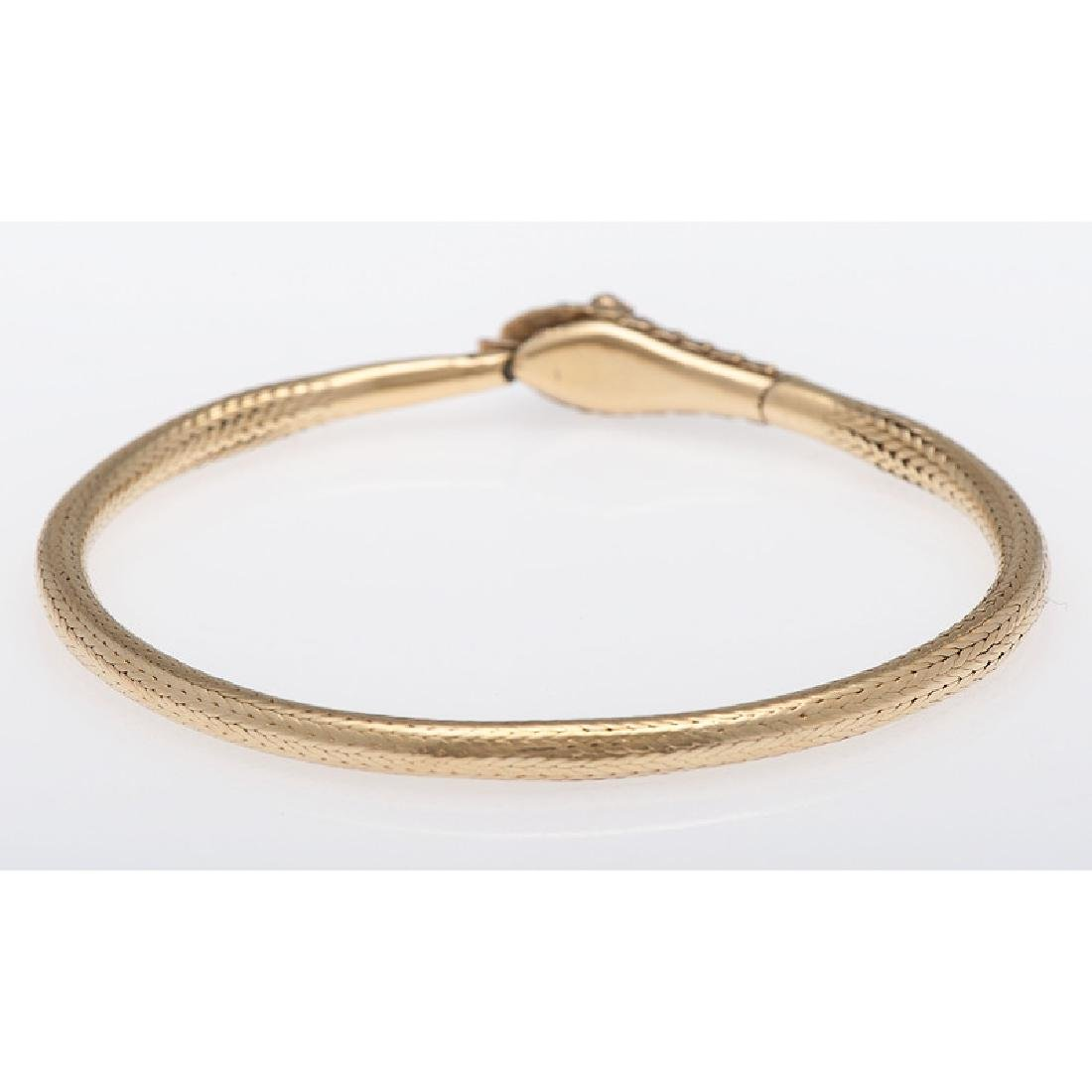 18 Karat Yellow Gold Victorian Serpent Snake Bracelet - 3