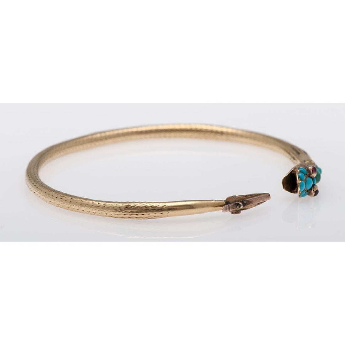 18 Karat Yellow Gold Victorian Serpent Snake Bracelet - 5