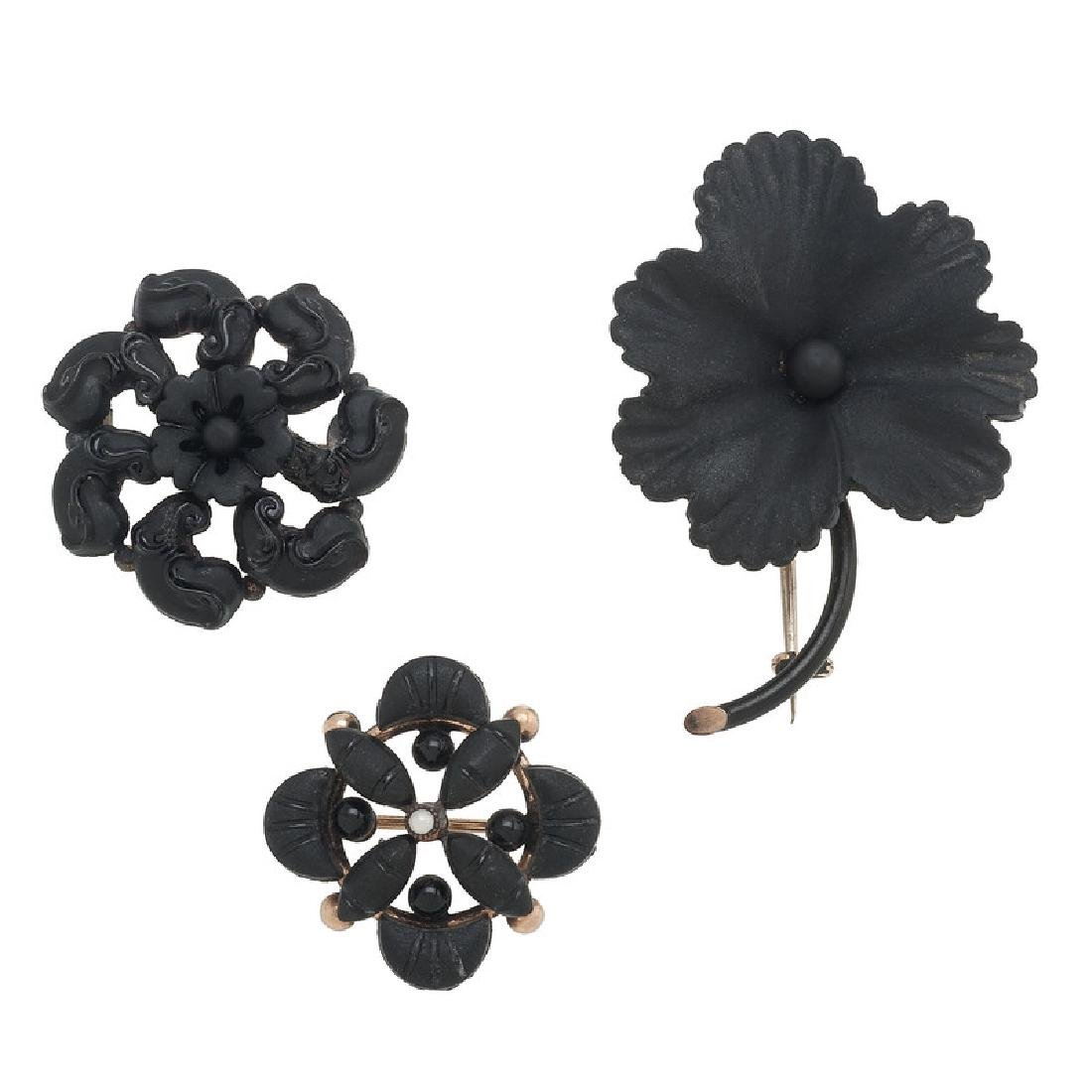 Gold Filled Victorian Mourning Brooches