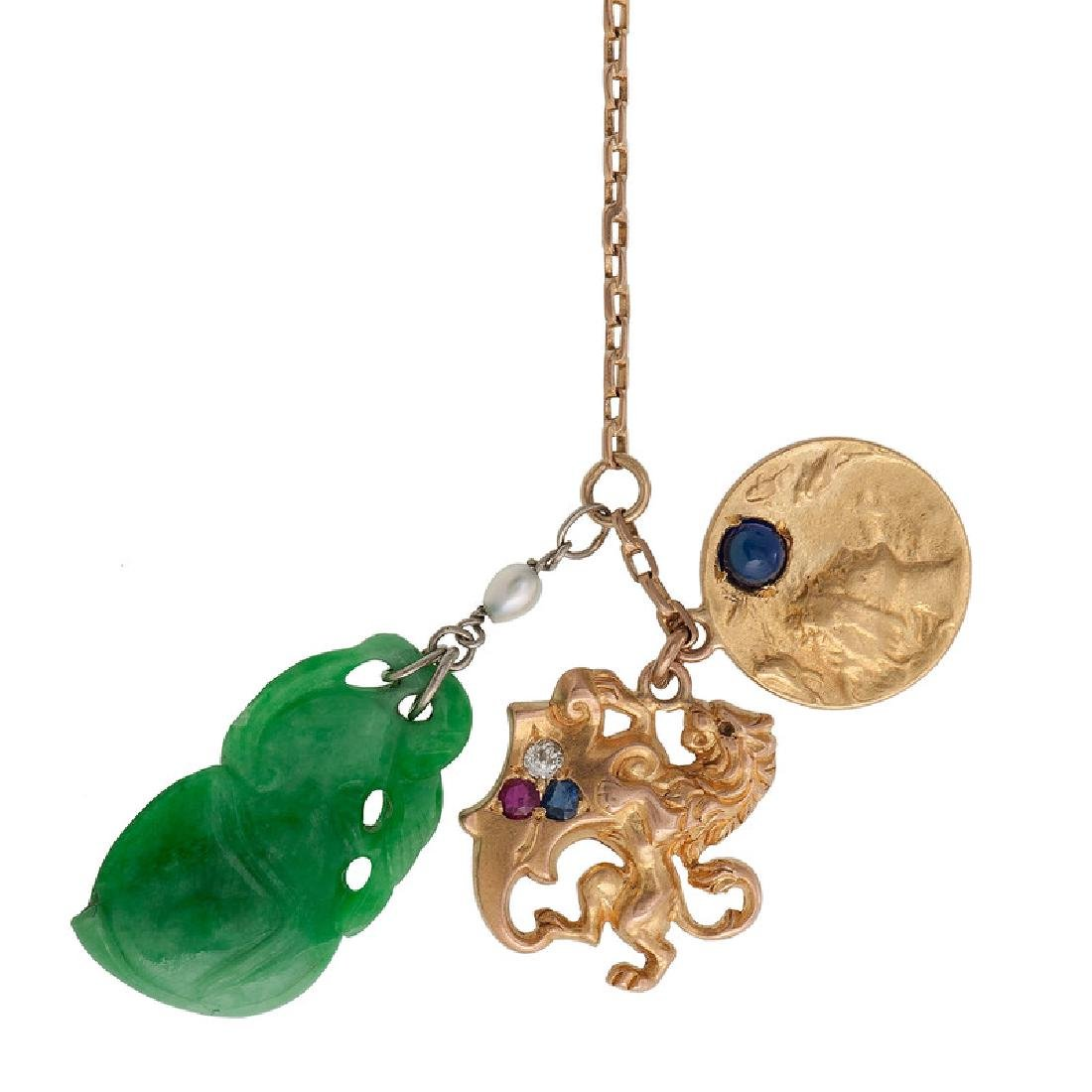 Gold Filled Bracelet with Jade and Gold Charms - 2