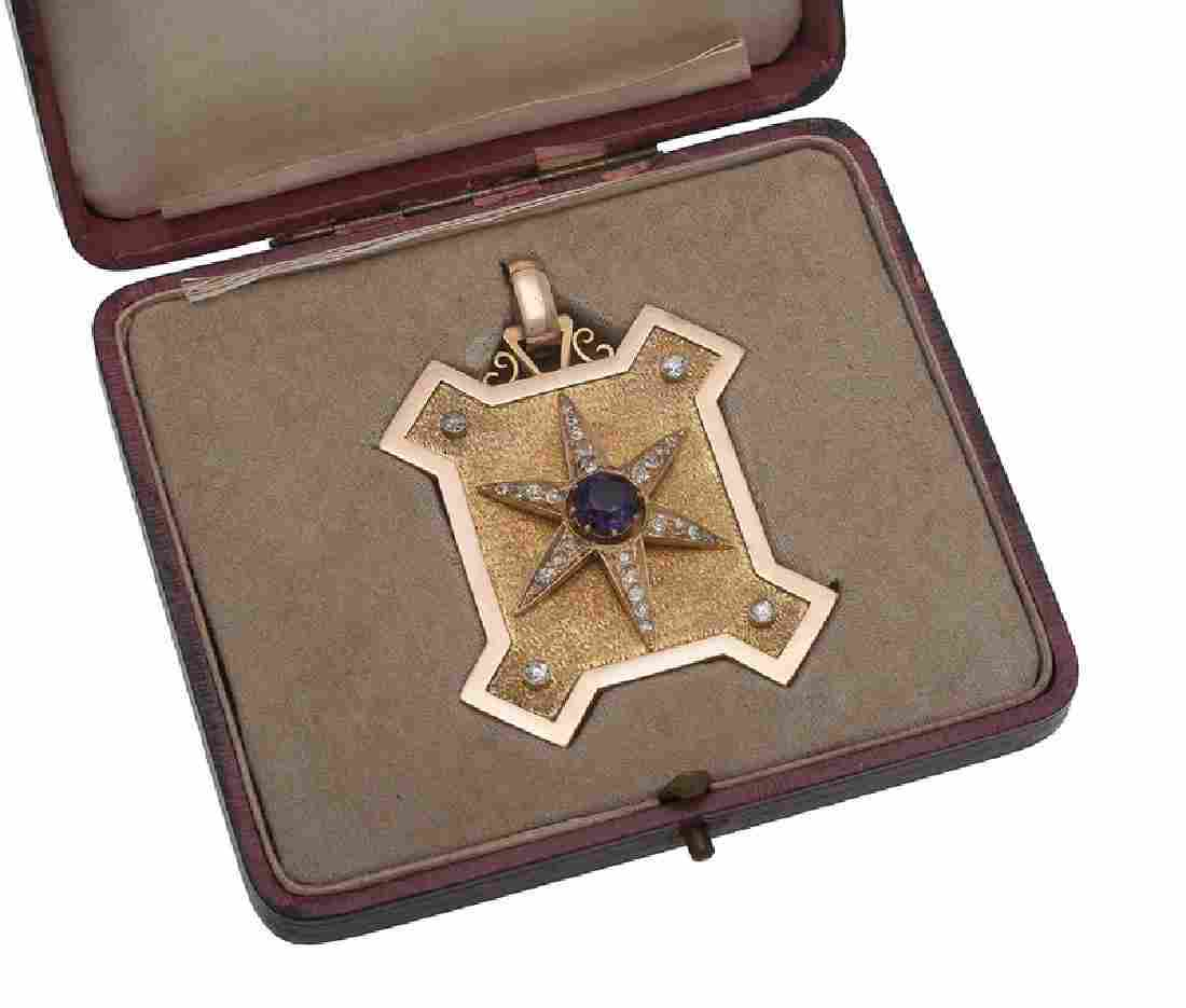 14 Karat Gold Amethyst and Diamond Victorian Locket