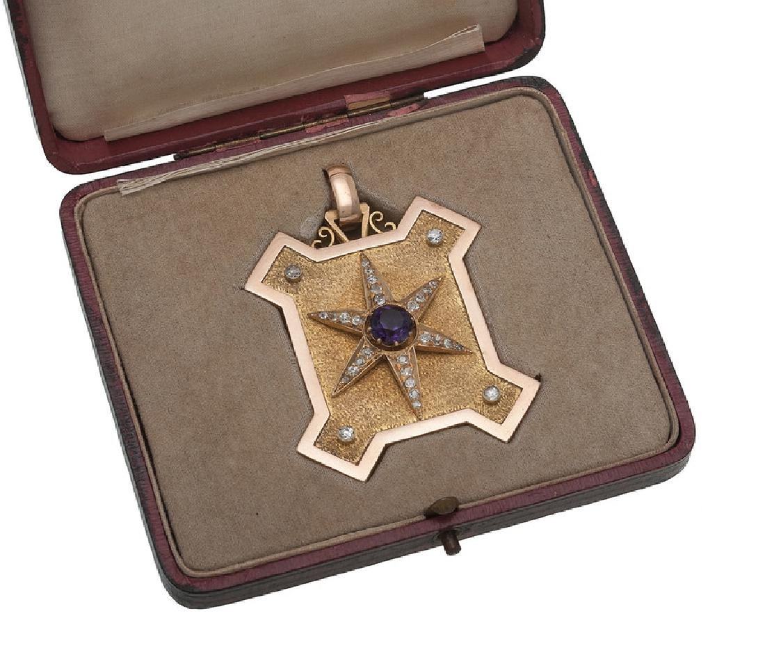 14 Karat Gold Amethyst and Diamond Victorian Locket