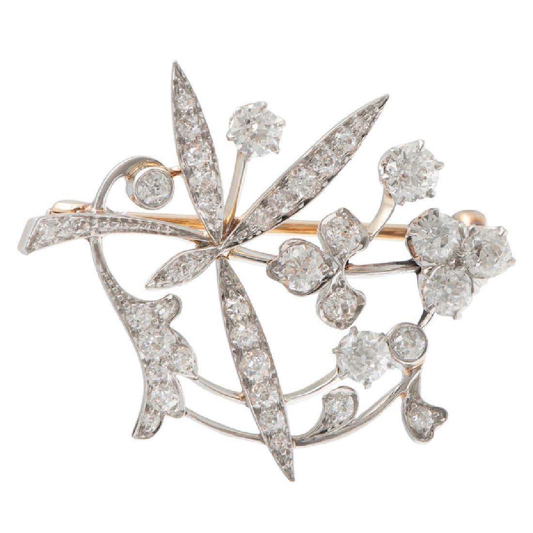 18 Karat Gold and Platinum Diamond Brooch