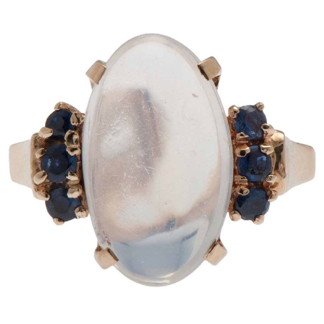 14 Karat Yellow Gold Moonstone and Sapphire Ring