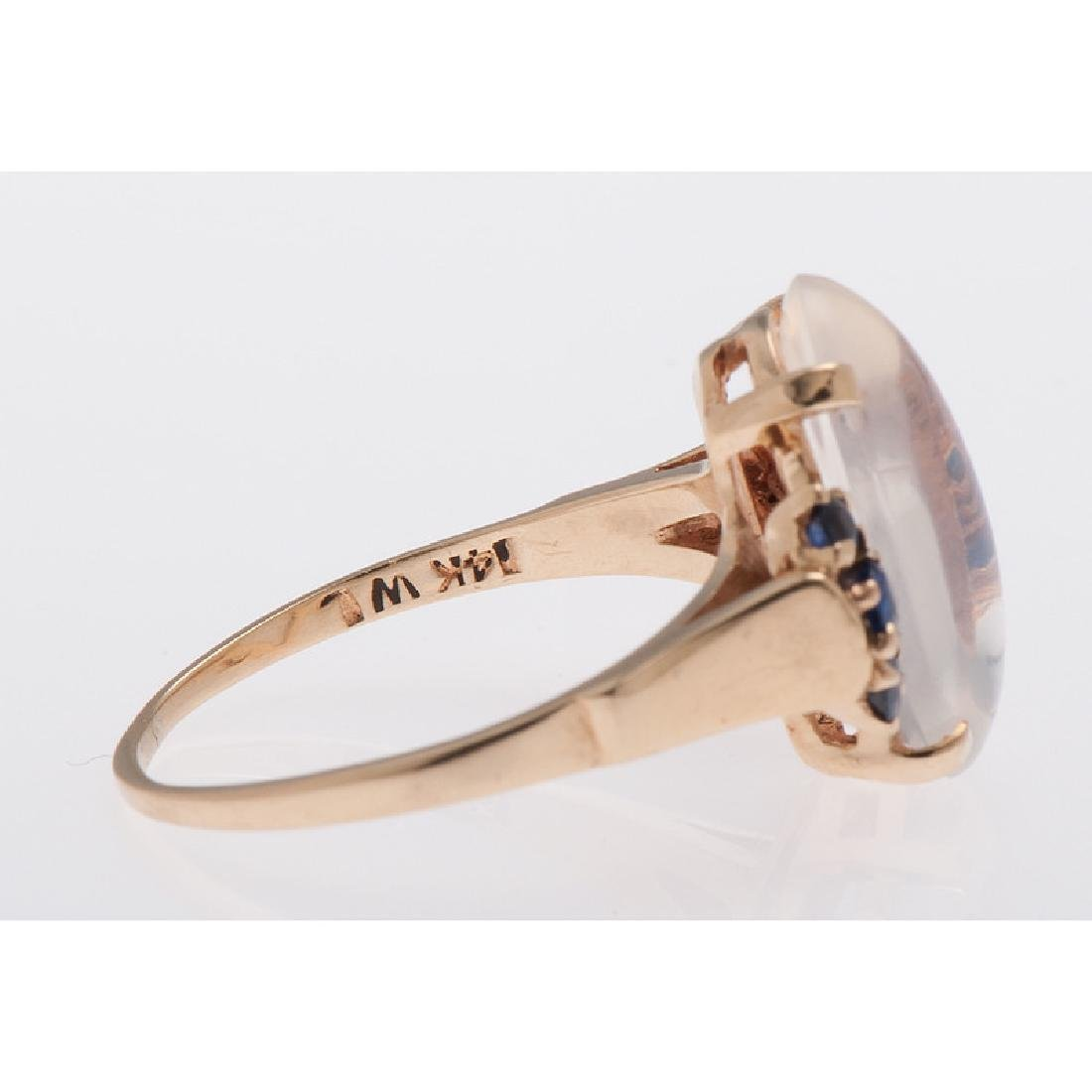 14 Karat Yellow Gold Moonstone and Sapphire Ring - 2