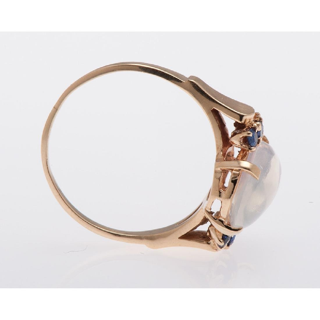 14 Karat Yellow Gold Moonstone and Sapphire Ring - 3