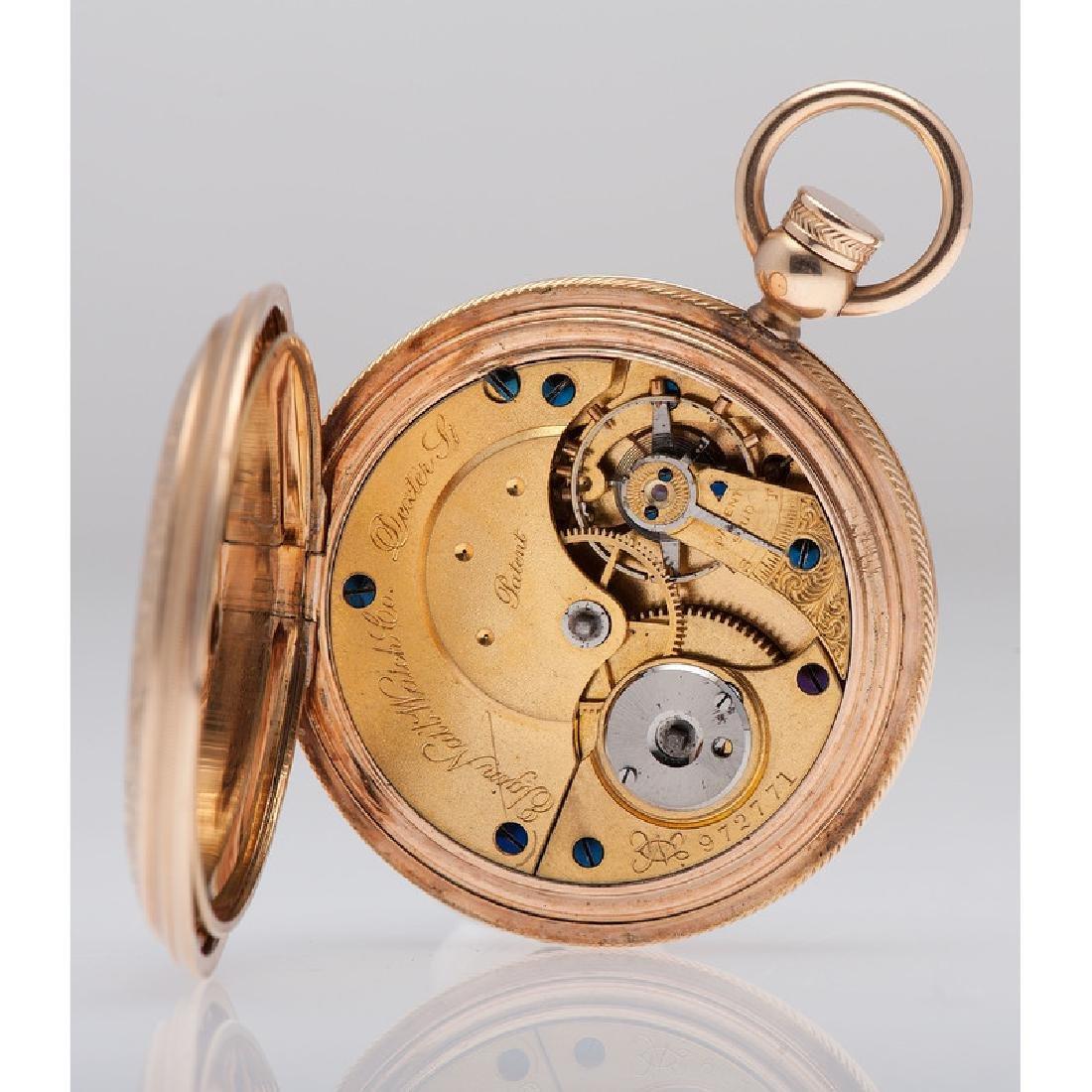 Elgin 14 Karat Yellow Gold Hunter Case Pocket Watch Ca. - 4
