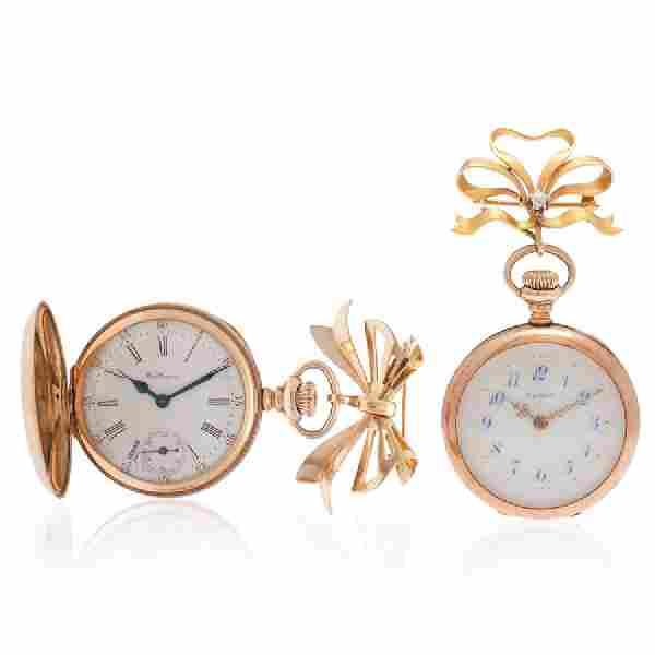Waltham and Elgin 14 Karat Yellow Gold Pocket Watches