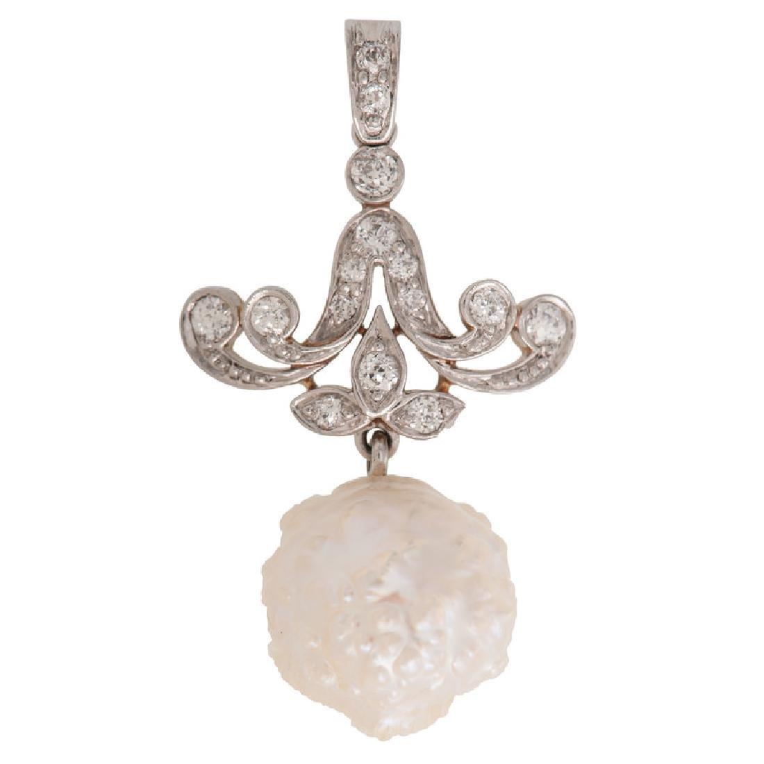 Platinum Over 18 Karat Gold Edwardian Diamond and Pearl